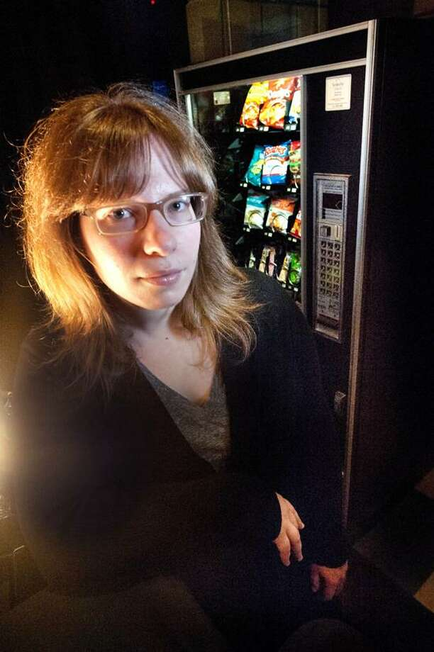 """VM Williams/Register photo: Laura Jacqmin, whose """"January Joiner: A Weight Loss Horror Comedy,"""" has its world premiere Wednesday at Long Wharf Theatre, may have you looking at vending machines in a whole new way."""