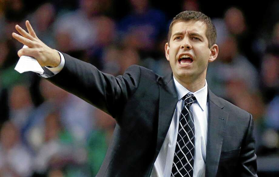Boston Celtics head coach Brad Stevens yells instructions to his team in the fourth quarter against the New York Knicks in Boston on Friday. Photo: Michael Dwyer — The Associated Press   / AP