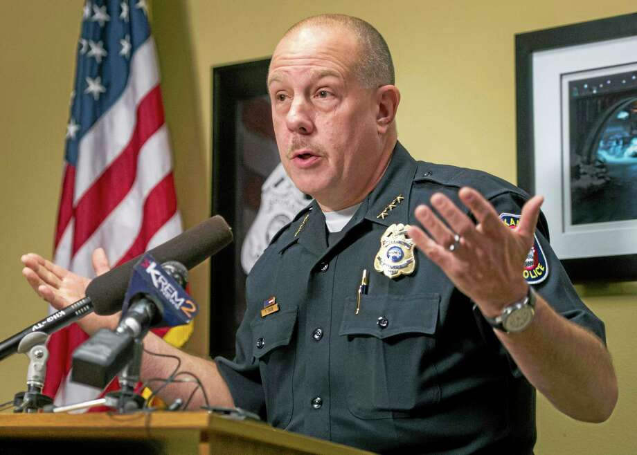 Spokane Police Chief Frank Straub talks about the arrest of a suspect in last week's beating death of an 88-year-old World War II veteran during a news conference on Monday, Aug. 26, 2013, at the Public Safety Building in Spokane, Wash. A second teenage suspect was arrested without incident early Monday morning at a friend's house in Spokane, police said. The first suspect turned himself in last week. (AP Photo/The Spokesman-Review, Colin Mulvany) Photo: AP / The Spokesman-Review