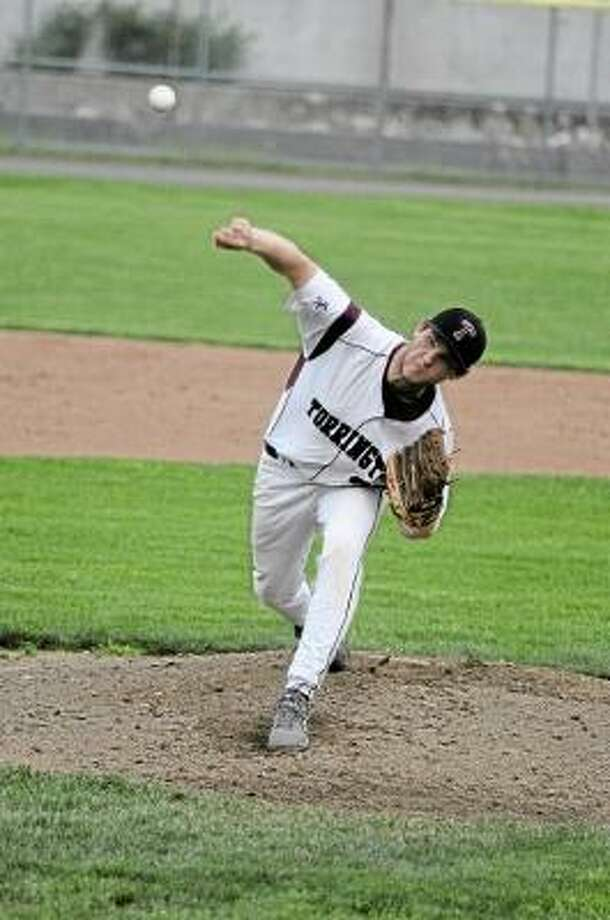 Torrington starting pitcher Kyle Sanford pitches a complete game against Litchfield. Photo by Sean Meenaghan/Register Citizen