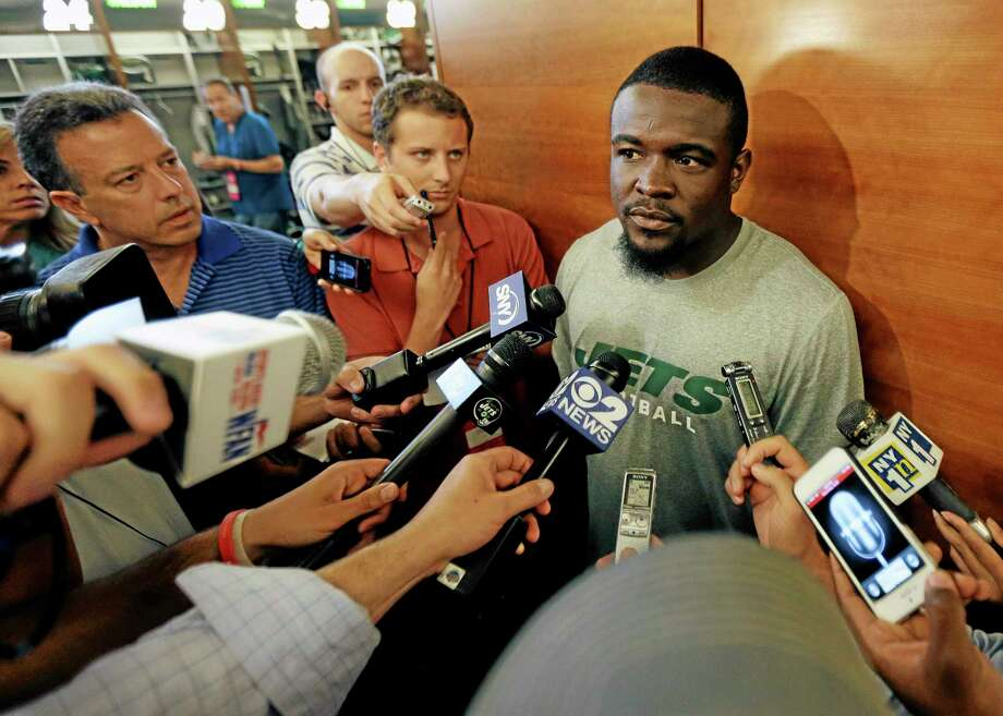 New York Jets running back Mike Goodson speaks to reporters on Tuesday in Florham Park, N.J. The NFL has suspended Goodson for the first four games of the regular season for violating the league's substance abuse policy. Photo: Julio Cortez — The Associated Press   / AP
