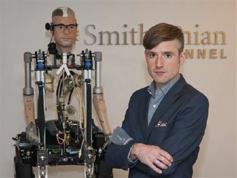 """In this Wednesday, Oct. 9, 2013 photo provided by Showtime, Bertolt Meyer, a social psychologist for the University of Zurich, poses for a photo in New York. Meyer is the face of the the Bionic Man and is featured in the Smithsonian Channel original documentary, """"The Incredible Bionic Man."""" (AP Photo/Showtime, Joe Schram) Photo: AP / Showtime"""