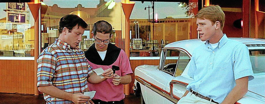 """Richard Dreyfuss, Charles Martin Smith and Ron Howard — with a car! — in """"American Graffiti."""" Photo: Journal Register Co."""
