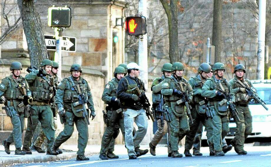 Police respond to the reports of a gunman on Yale campus Nov. 25 in New Haven. Photo: Arnold Gold - New Haven Register   / New Haven Register
