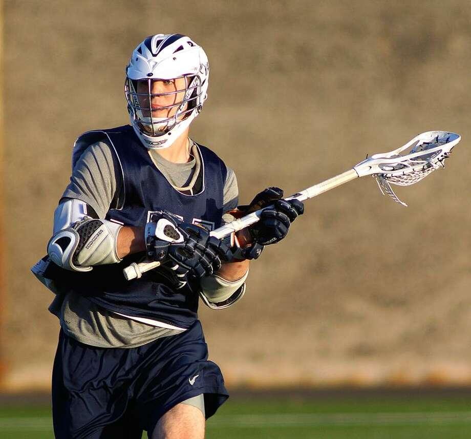 """New Haven-- Yale Lacrosse practice. Conrad Oberbeck.  Photo-Peter Casolino/Register <a href=""""mailto:pcasolino@newhavenregister.com"""">pcasolino@newhavenregister.com</a>"""