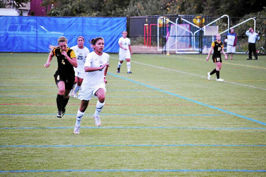 New Haven striker Monica Yanez is back for her senior season. She led the team with 12 goals last season. Photo: Photo Courtesy Of UNH Athletics