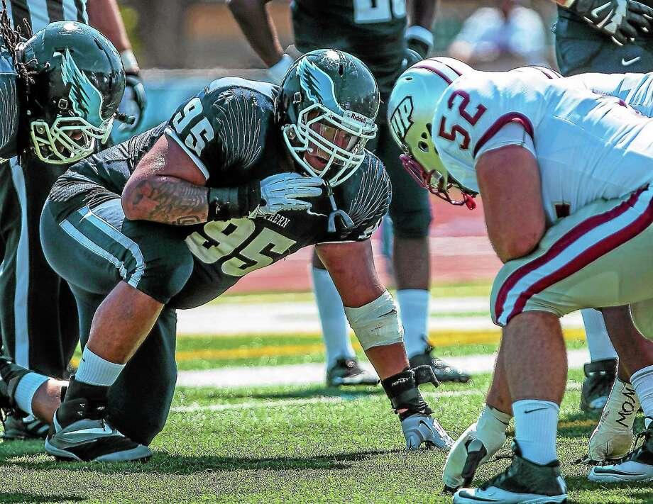 Berlin native A.J. Marsiglia has led an improved Southern Connecticut State defensive line. Photo: Photo Courtesy Of SCSU Athletics   / JOHN VANACORE/THE GUILFORD COURIER