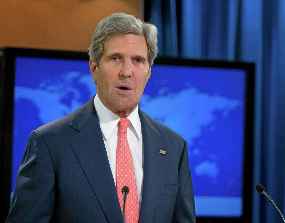 Secretary of State John Kerry speaks at the State Department in Washington, Monday, Aug. 26, 2013, about the situation in Syria. Kerry said chemical weapons were used in Syria, and accused Assad of destroying evidence. (AP Photo/Manuel Balce Ceneta) Photo: AP / AP