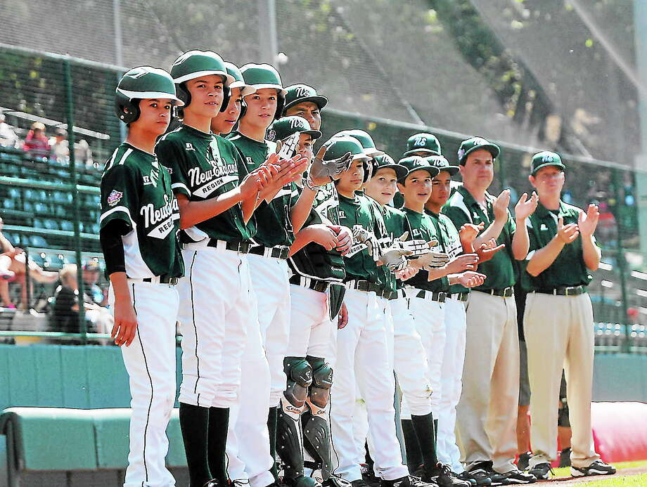 The Westport Little League team waits for the start of Sunday's Little League World Series third-place game against Mexico. Photo: Mary Albl — Register