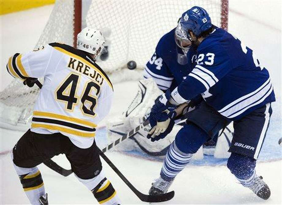 Boston Bruins forward David Krejci, left, scores the winning goal past Toronto Maple Leafs goalie James Reimer during overtime of Game 4 of their NHL hockey Stanley Cup playoff series, Wednesday, May 8, 2013, in Toronto. The Bruins won 4-3. (AP Photo/The Canadian Press, Nathan Denette) Photo: AP / The Canadian Press