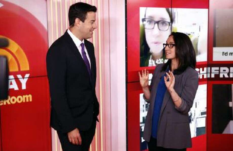 Pictured: (l-r) Carson Daly and Marina Shifrin appear on NBC News' 'Today' show.