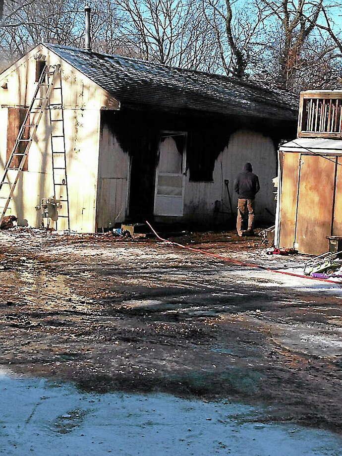 Fire at 368 Hawthorne Ave. in Derby Thursday morning. (Charlotte Adinolfi) Photo: Journal Register Co.