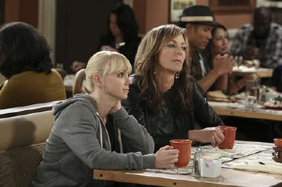 "This photo shows Anna Faris and Allison Janey in an undated photo from the new CBS show, ""Mom."""