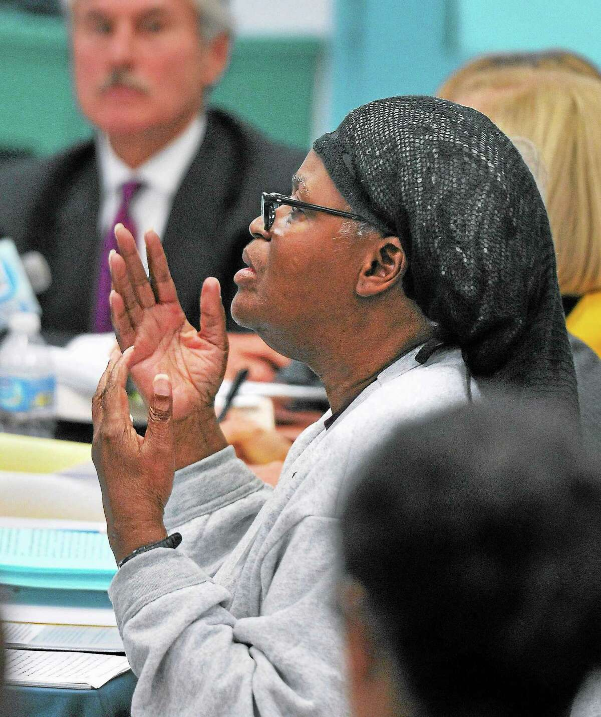 (Peter Casolino — New Haven Register) Bonnie Jean Foreshaw talks about the killing of Joyce Amos in 1986 to the Board of Pardons and Paroles during a hearing at the JB Gates Correctional Institution in Niantic. Foreshaw was granted clemency by the board and will be released in November. Foreshaw was originally given a 45-year sentence, the longest given to a woman in Connecticut .
