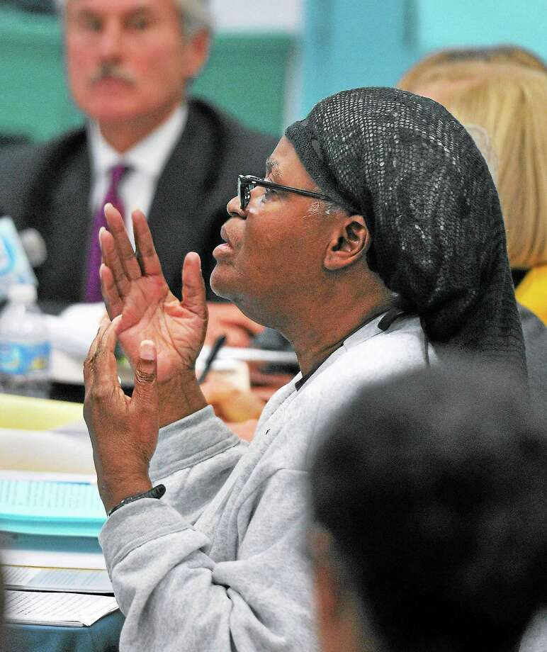 (Peter Casolino — New Haven Register)  Bonnie Jean Foreshaw talks about the killing of Joyce Amos in 1986 to the Board of Pardons and Paroles during a hearing at the JB Gates Correctional Institution in Niantic. Foreshaw was granted clemency by the board and will be released in November. Foreshaw was originally given a 45-year sentence, the longest given to a woman in Connecticut . Photo: Journal Register Co.
