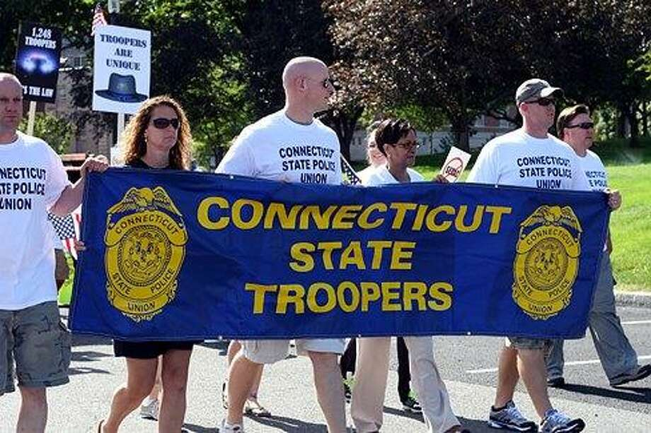 Connecticut State Troopers rally against layoffs in the summer of 2011. Christine Stuart/CT NewsJunkie file photo