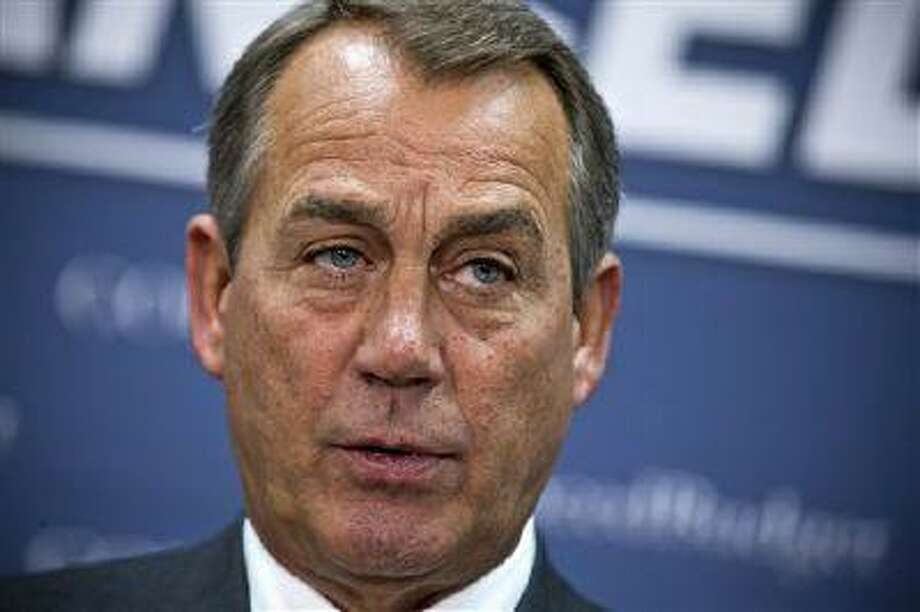 House Speaker John Boehner of Ohio meets with reporters on Capitol Hill in Washington, Wednesday, April 10, 2013, following a Republican strategy session, and the release of President Barack Obama's proposed fiscal 2014 federal budget. (AP Photo/J. Scott Applewhite) Photo: AP / AP