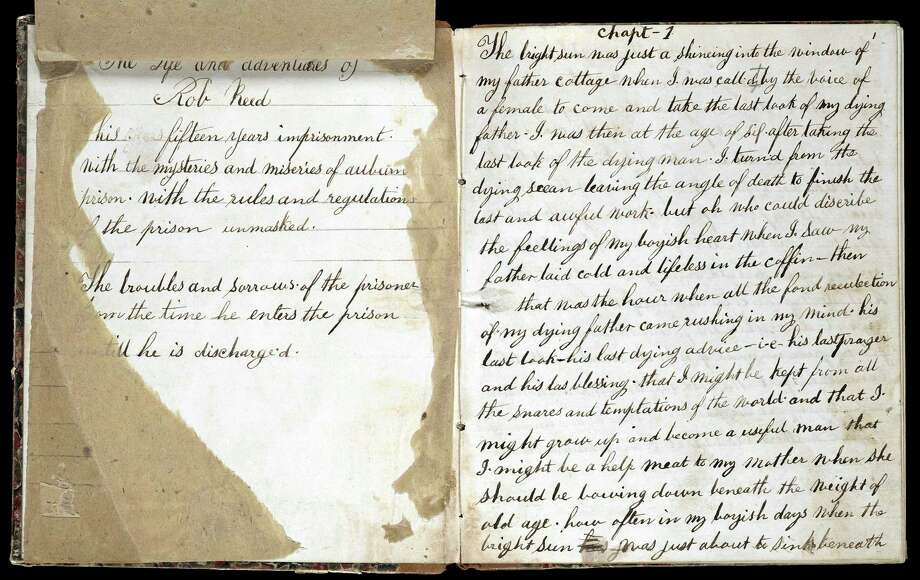 """This undated photo released Thursday, Dec. 12, 2013, by Yale University in New Haven, Conn., shows the title page and opening chapter of """"The Life and Adventures of a Haunted Convict."""" The University said the 1858 manuscript it acquired in 2009 is the earliest known prison memoir written by an African American and details brutal punishments. (AP Photo/Yale University) Photo: AP / Yale University"""