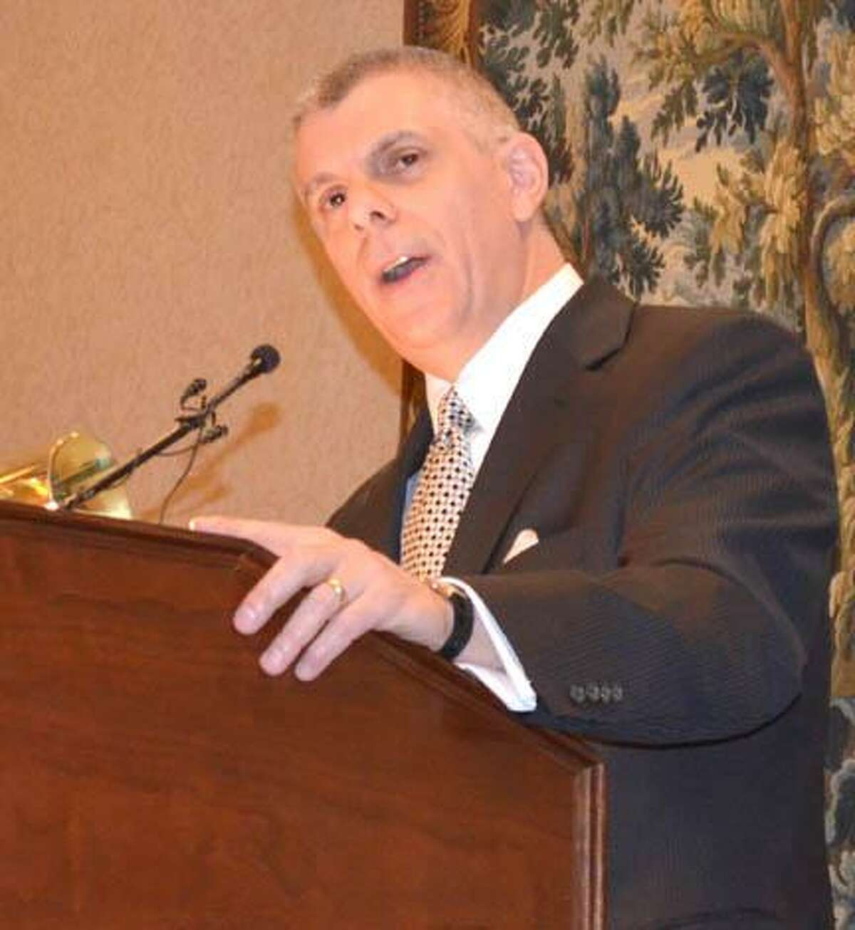 Oneida County Executive Anthony Picente Jr. speaks at the Radisson Hotel-Utica Centre this morning. Rachel Murphy/The Rome Observer