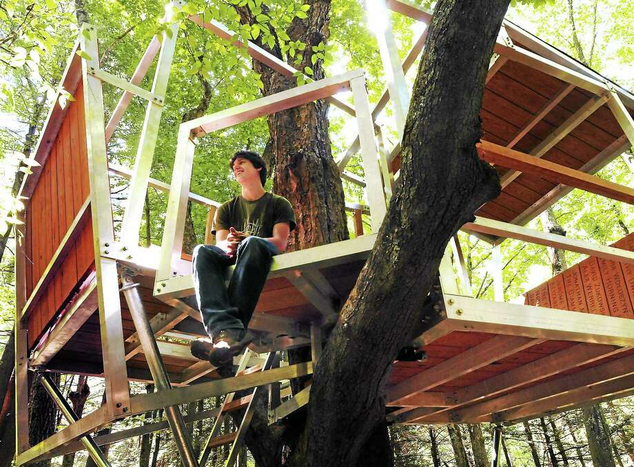 Mara Lavitt — Register August 23, 2013 Yale Myers Forest, Union, Eastford and Ashford. 2013 Yale graduate Griffin Collier of Glen Cove, NY with the completed treehouse of sassafras and aluminum he designed and built with the help of friends, and support through Kickstarter. Photo: Journal Register Co.