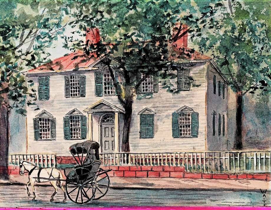 "Thomas Royal Waite's watercolor ""Benedict Arnold House."" Photo: Collection Of New Haven Museum PHOTO"