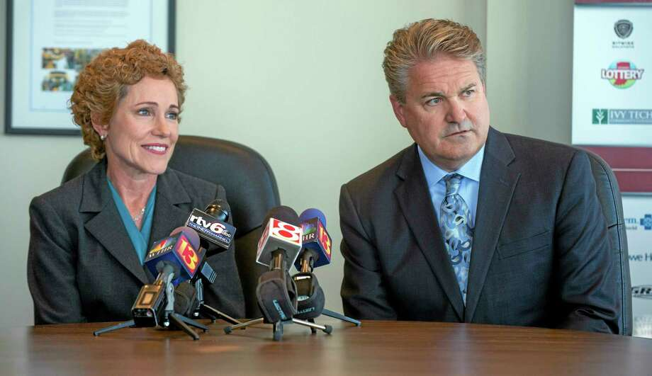 Cathy Langham, left, and David Lewis, vice chairs of Indianpolis' 2018 Super Bowl bid committee, talk to reporters Tuesday at Indiana Sports Corp. offices in Indianapolis. New Orleans, Minneapolis and Indianapolis are the three finalists for NFL football's 2018 Super Bowl. Photo: Doug McSchooler — The Associated Press   / FR170771 AP