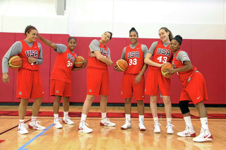 From left, Notre Dame's Kayla McBride, UConn's Kaleena Mosqueda-Lewis and Stefanie Dolson, Maryland's Alyssa Thomas, UConn's Breanna Stewart and Baylor's Odyssey Sims at national team training camp in Las Vegas. The three Huskies, plus Bria Hartley, are on the preseason Wade Trophy watch list. Photo: Carolina Williams — The Associated Press   / USA Basketball