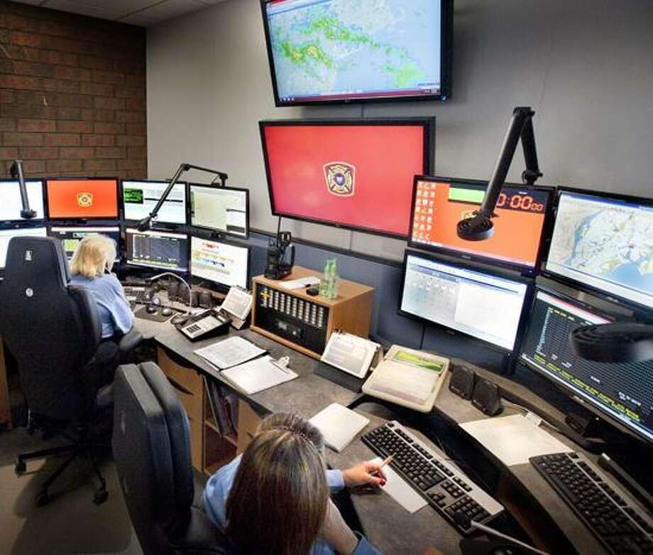 Milford-Communication Center at Police Headquarters.    Melanie Stengel/Register