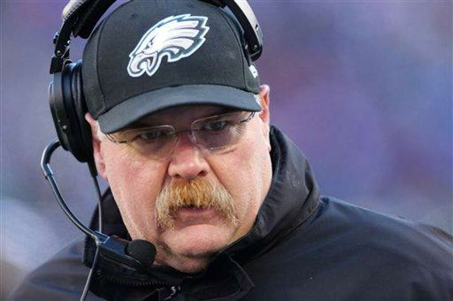 Philadelphia Eagles head coach Andy Reid during the first half of an NFL football game against the New York Giants Sunday, Dec. 30, 2012 in East Rutherford, N.J. (AP Photo/Peter Morgan) Photo: ASSOCIATED PRESS / AP2012