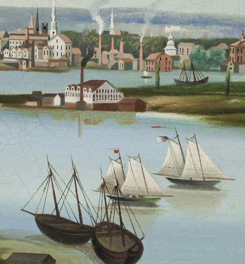 "New Haven Museum photo: ""View of New Haven From Fair Haven Heights"" by Leopold Schierholz will be part of Ship Discovery at the New Haven Museum."