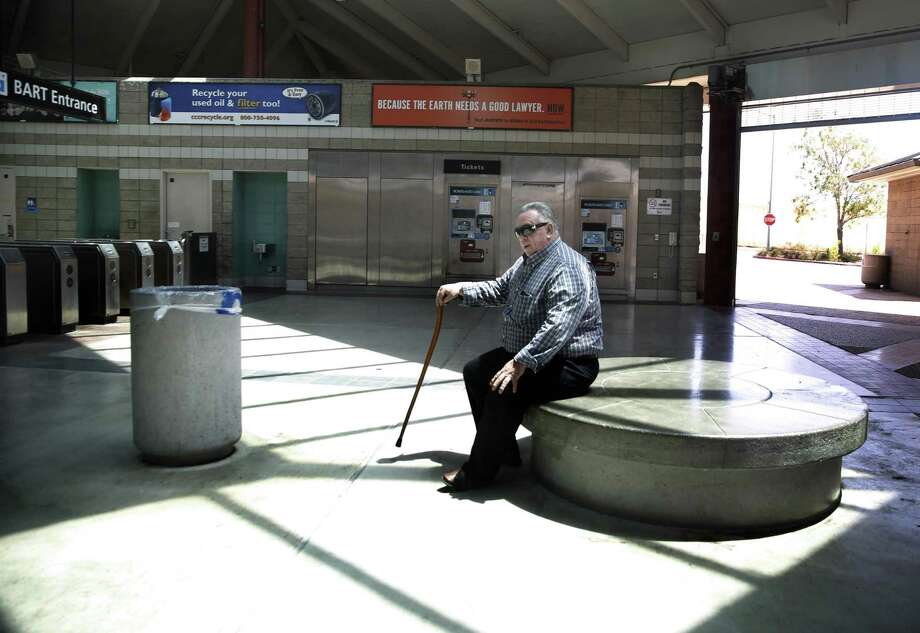 Mike Hohndorf, who has been riding BART for 30 years, sits at the North Concord/Martinez BART Station, where the belligerent man began yelling that he was going to kill the passengers. Photo: Liz Hafalia / Liz Hafalia / The Chronicle / online_yes