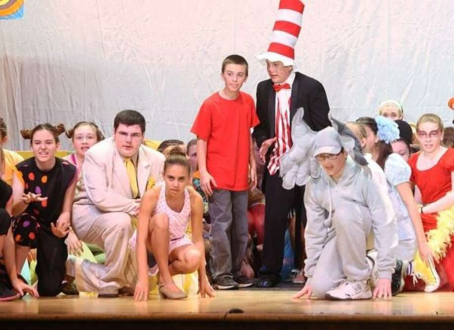 PHOTO BY JOHN HAEGER @ ONEIDAPHOTO ON TWITTER/ONEIDA DAILY DISPATCH   Brennan Miller and Luke Kiser along with fellow cast members rehearse a scene from the VVS Middle School production of Seussical JR on Tuesday, May 7, 2013 in Verona.