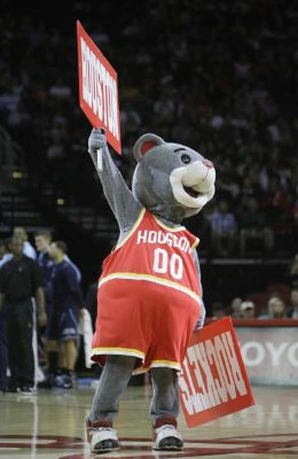 Houston Rockets mascot Clutch rallies the crowd in this 2008 photo.