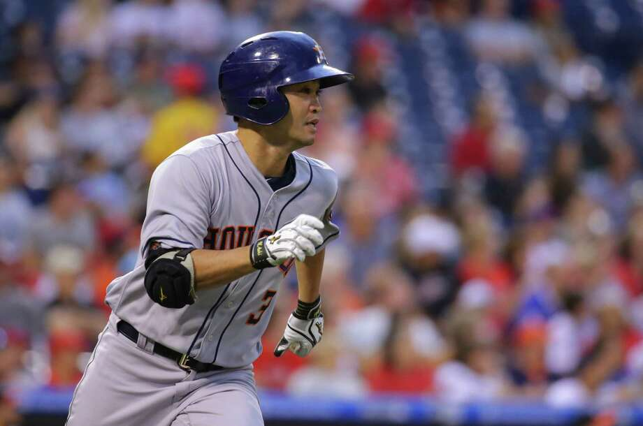 PHILADELPHIA, PA - JULY 25: Norichika Aoki #3 of the Houston Astros runs to first base after hitting an RBI sacrifice fly in the third inning during a game against the Philadelphia Phillies at Citizens Bank Park on July 25, 2017 in Philadelphia, Pennsylvania. Photo: Hunter Martin, Getty Images / 2017 Getty Images