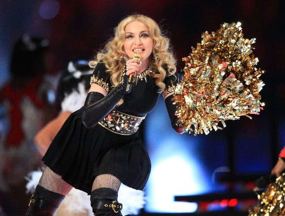 Madonna performs during the Bridgestone Super Bowl XLVI Halftime Show at Lucas Oil Stadium on February 5, 2012 in Indianapolis, Indiana. (Christopher Polk/Getty Images)