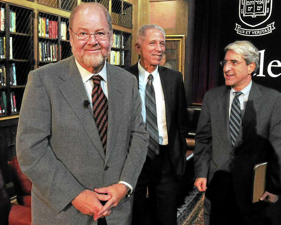 (Mara Lavitt — New Haven Register) October 7, 2013 New HavenJames E. Rothman, left, the chair of Yale's Dept. of Cell Biology shares the 2013 Nobel Prize in Physiology or Medicine. With him are Yale Medical School Dean Robert Alpern and Yale President Peter Salovey, afte a press conference at the Yale Medical School. Photo: Journal Register Co. / Mara Lavitt
