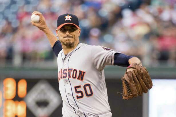 Houston Astros starting pitcher Charlie Morton throws a pitch during the first inning of a baseball game against the Houston Astros, Tuesday, July 25, 2017, in Philadelphia. (AP Photo/Chris Szagola)