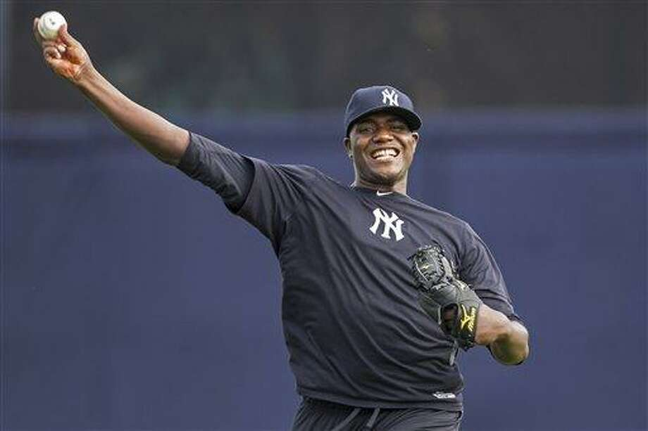 New York Yankees pitcher Michael Pineda throws during baseball spring training at George M. Steinbrenner Field Tuesday, Feb. 12, 2013, in Tampa, Fla. (AP Photo/Scott Iskowitz) Photo: ASSOCIATED PRESS / AP2013