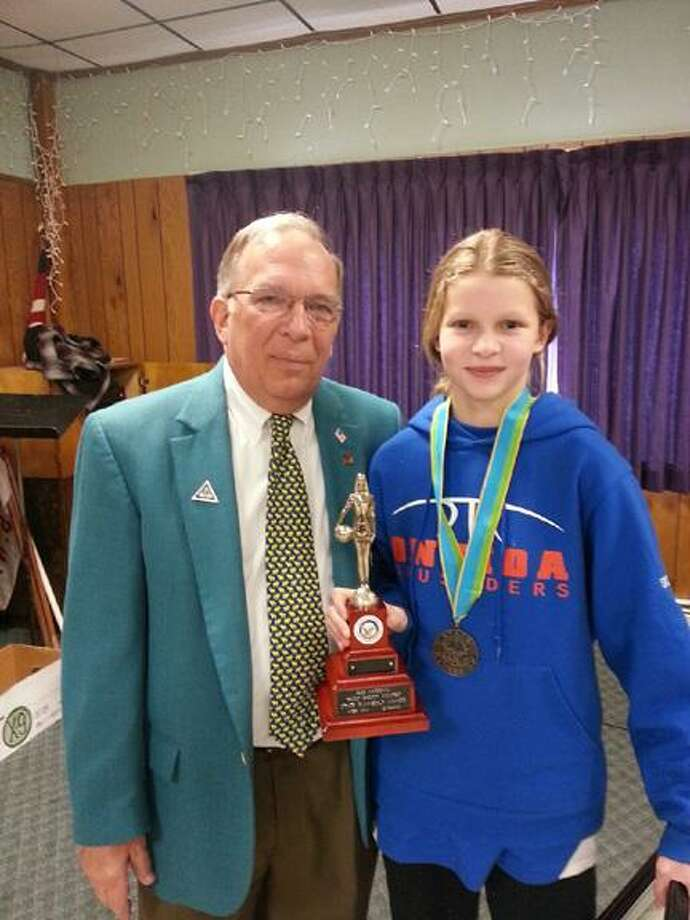 Submitted Photo Oneida's Lauren Skibitski took second place in the 10-11 age group at the Elks State Hoop Shoot in Seneca Falls on Saturday.