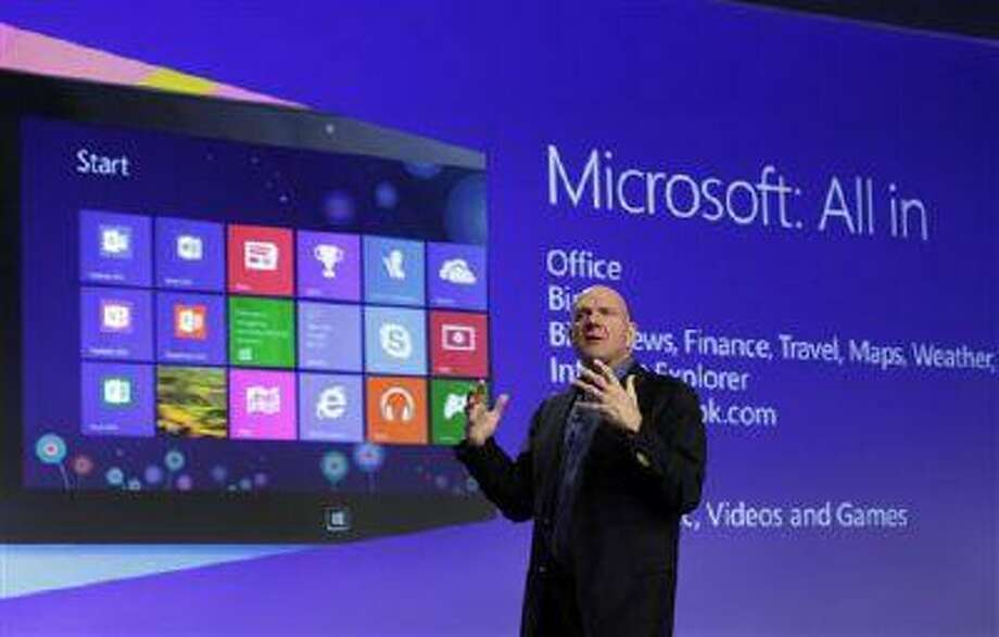 Microsoft CEO Steve Ballmer gives his presentation at the launch of Microsoft Windows 8, in New York, in this Oct. 25, 2012 photo. Microsoft is retooling the latest version of its Windows operating system to address complaints and confusion that have been blamed for deepening a slump in personal computer sales. The tune up announced Tuesday May 7, 2013 won't be released to consumers and businesses until later this year. (AP Photo/Richard Drew, File) Photo: AP / AP