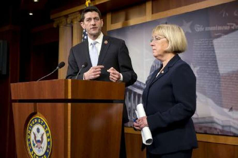 House Budget Committee Chairman Paul Ryan, R-Wis., and Senate Budget Committee Chairwoman Patty Murray, D-Wash., announce a tentative agreement between Republican and Democratic negotiators on a government spending plan, at the Capitol in Washington, Tuesday, Dec. 10, 2013.
