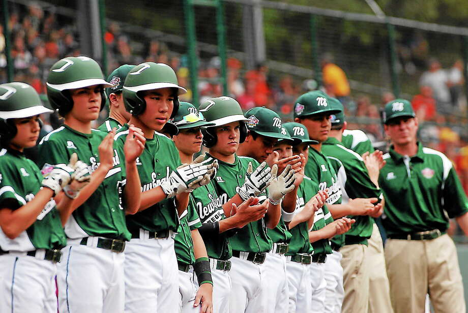 Westport players line up before the start of Sunday's game against Eastlake at the Little League World Series. Photo: Mary Albl — Register