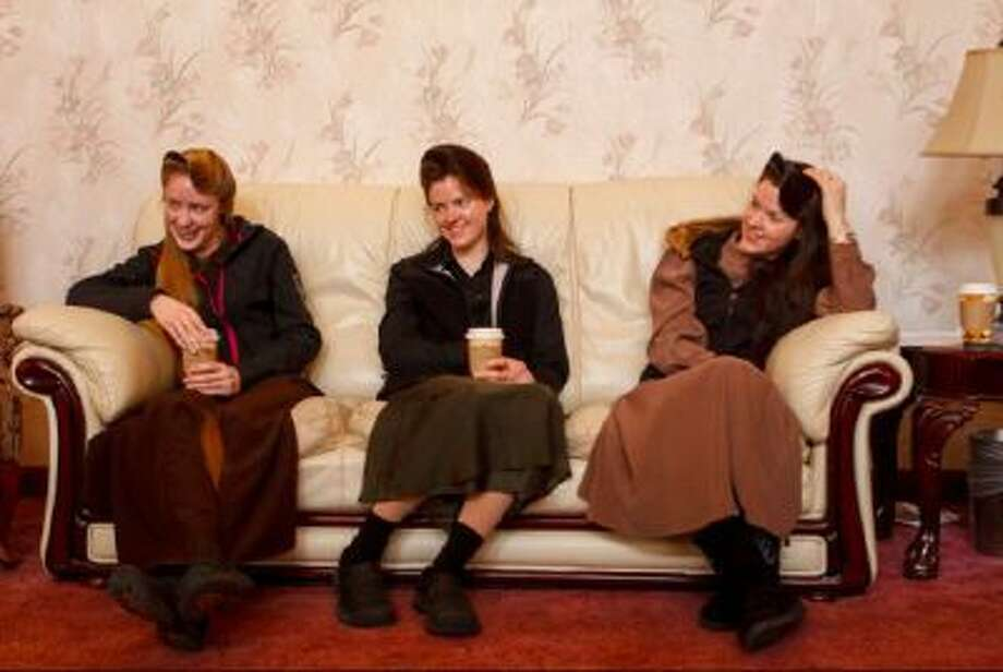 Allie Steed, Helen Holm and Heidi Holm on Dec. 1, 2012 in Colorado City, Ariz. The three women recently left the FLDS church.