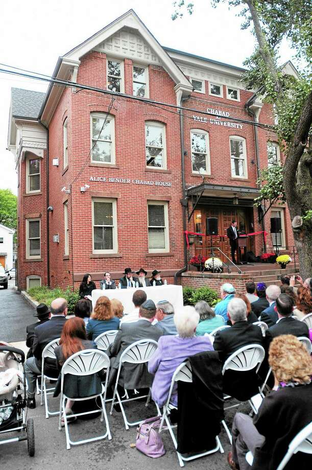 (Arnold Gold — New Haven Register)  The Chabad House at Yale University is dedicated on Lynwood Place in New Haven on 10/6/2013. Photo: Journal Register Co.
