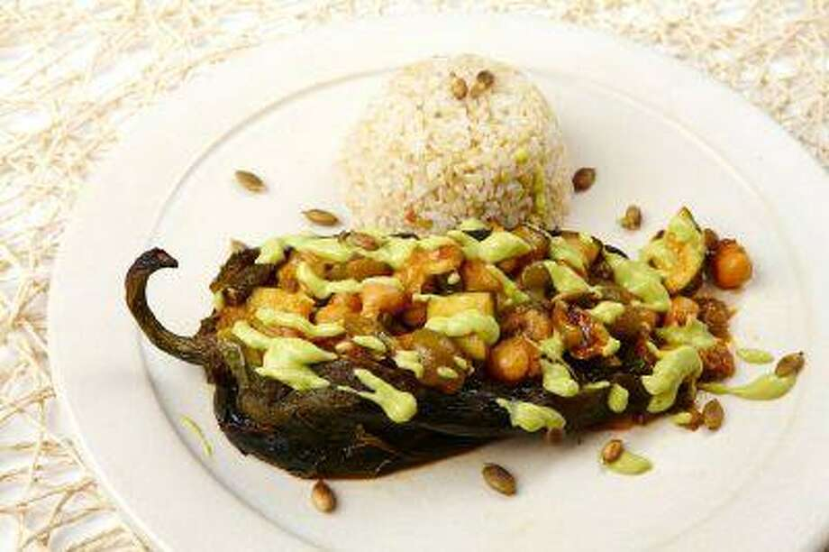 Roasted Chiles Rellenos with Avocado Sauce. Photo: The Washington Post / THE WASHINGTON POST