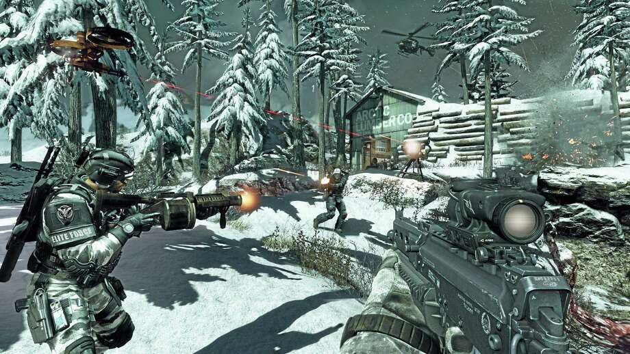 """This undated publicity photo released by Activision/Infinity Ward shows a scene from the video game, """"Call of Duty: Ghosts."""" """"Call of Duty: Ghosts"""" is summoning new ways to play the first-person shooter online. Female characters, interactive maps, canine sidekicks and a new mode called """"cranked"""" are among the new additions coming to the popular shoot-'em-up franchise's multiplayer mode when the game is released this fall. (AP Photo/Activision/Infinity Ward) Photo: AP / Activision/Infinity Ward"""