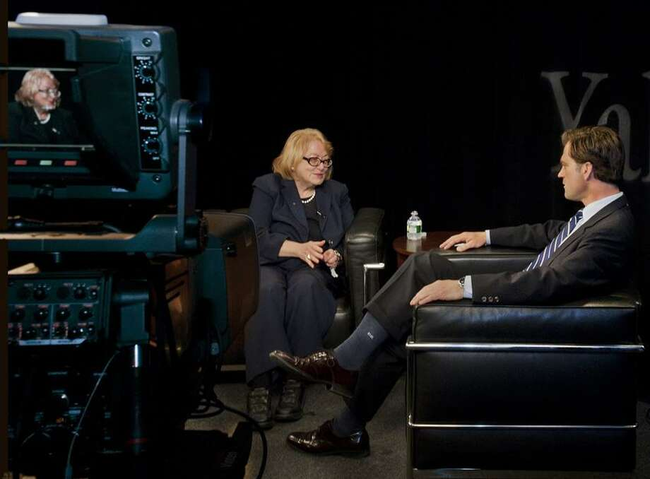NEW HAVEN_Yale senior archivist and historian, Judith Schiff (L),  chats  with Eric Gershon before taping a live show at Yale broadcast studios. Melanie Stengel/Register