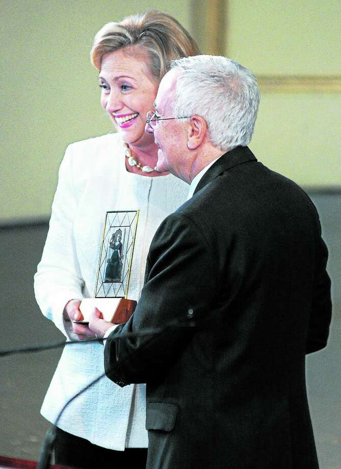 Hillary Clinton receives the Yale Law School Award of Merit from Yale Law School Dean Robert Post during her 40th Yale Law School reunion in New Haven on 10/5/2013. Photo: Arnold Gold — New Haven Register