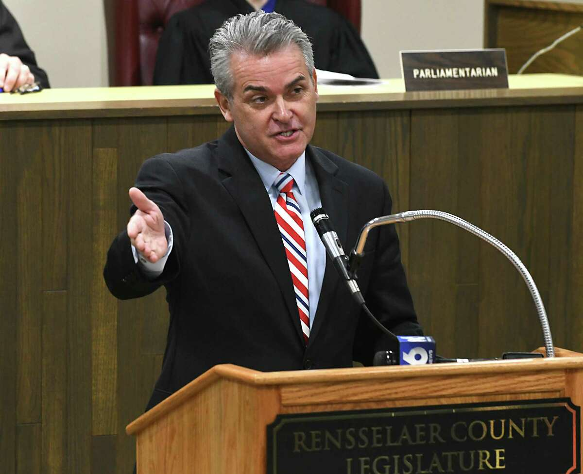 Assemblyman Steven McLaughlin speaks after being sworn in at the Rensselaer County Legislature Chambers on Sunday, Jan. 1, 2017 in Troy, N.Y. (Lori Van Buren / Times Union)
