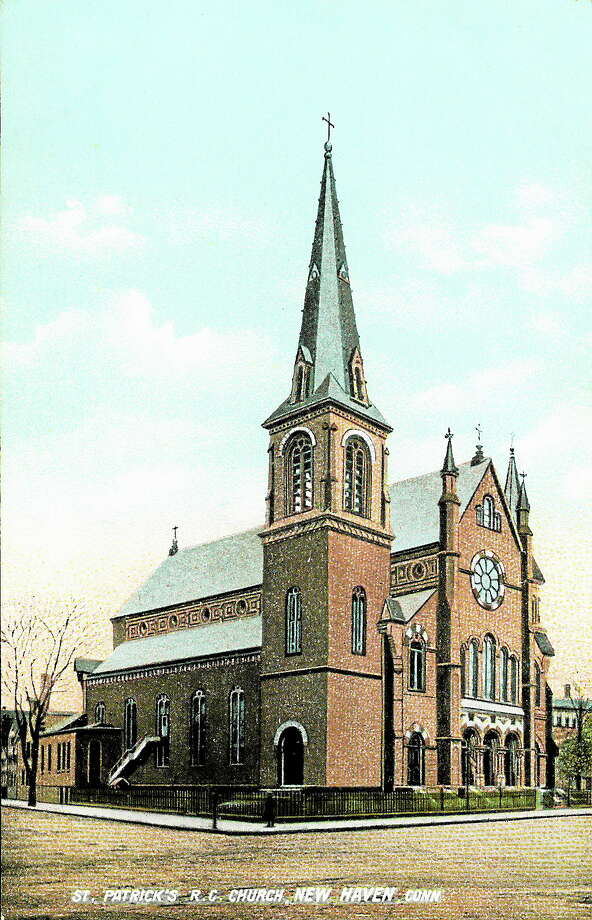 A circa 1940 postcard of St. Patrick's Roman Catholic Church on Grand Avenue and Wallace Street. Photo: Collection Of Joseph Taylor